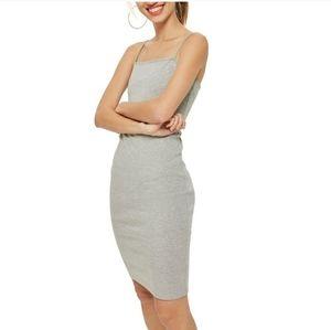 New Topshop Gray Bodycon Slip Midi Dress